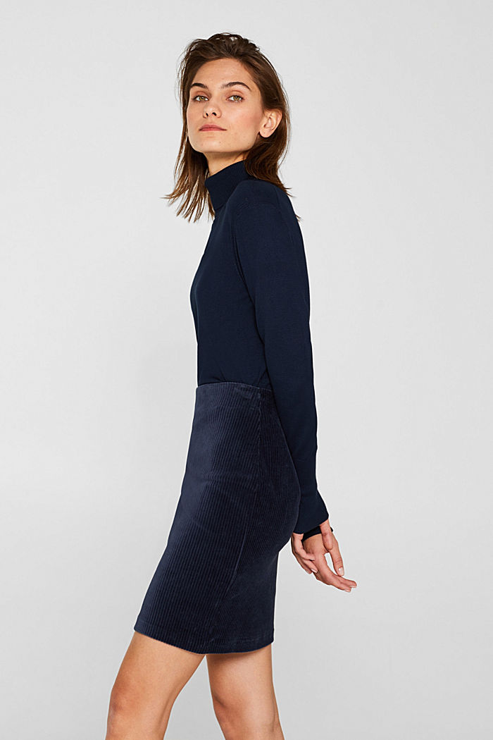 Stretch jersey skirt in a corduroy look, NAVY, detail image number 0