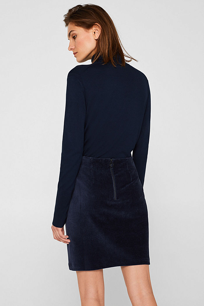 Stretch jersey skirt in a corduroy look, NAVY, detail image number 3