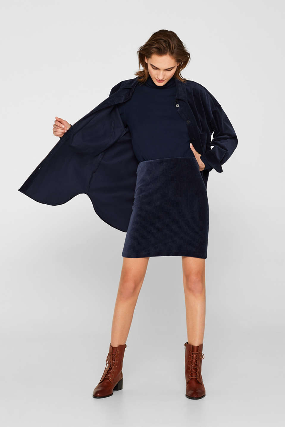 Stretch jersey skirt in a corduroy look, NAVY, detail image number 1