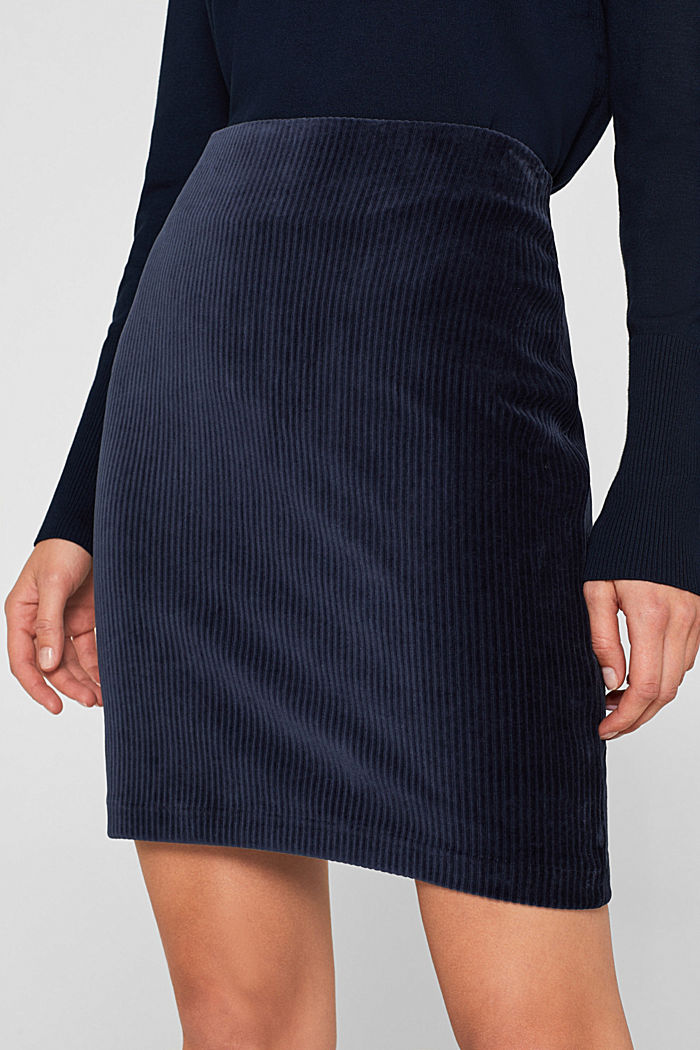 Stretch jersey skirt in a corduroy look, NAVY, detail image number 2