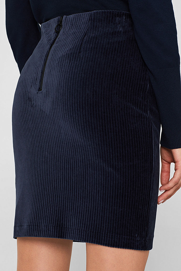 Stretch jersey skirt in a corduroy look, NAVY, detail image number 5