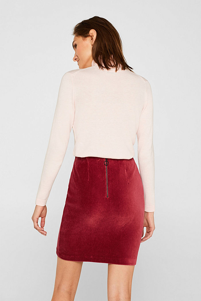 Stretch jersey skirt in a corduroy look, GARNET RED, detail image number 3
