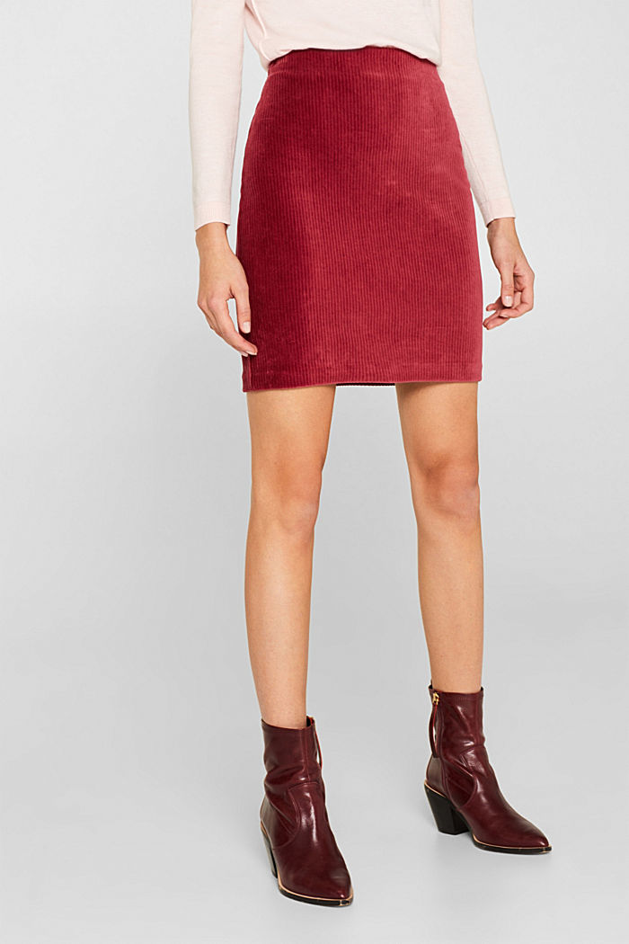 Stretch jersey skirt in a corduroy look, GARNET RED, detail image number 6
