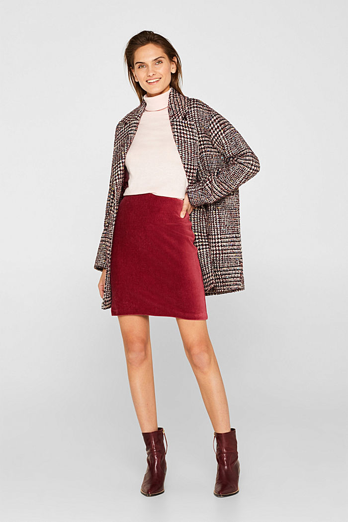 Stretch jersey skirt in a corduroy look, GARNET RED, detail image number 1