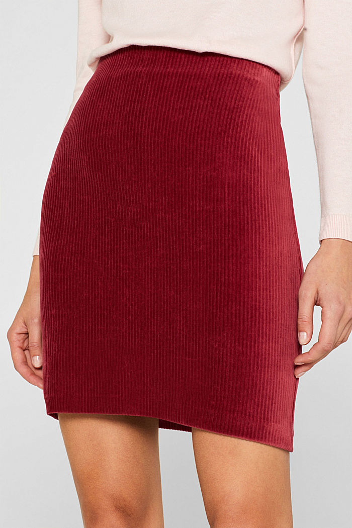 Stretch jersey skirt in a corduroy look, GARNET RED, detail image number 2