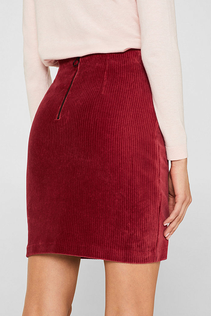 Stretch jersey skirt in a corduroy look, GARNET RED, detail image number 5