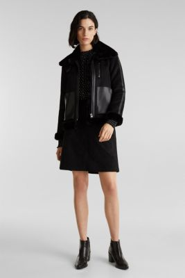 Skirt in faux suede, BLACK, detail