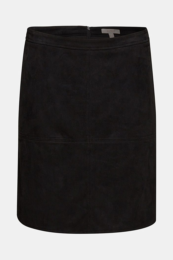 Skirt in faux suede, BLACK, detail image number 6