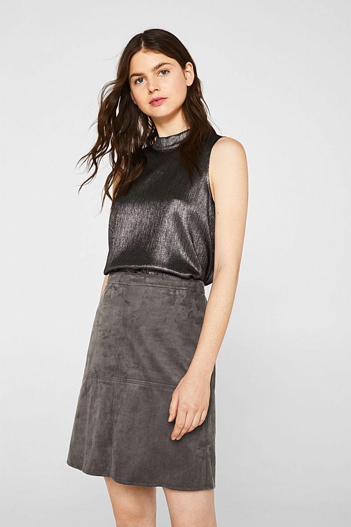 Skirt in faux suede, MEDIUM GREY, detail image number 0