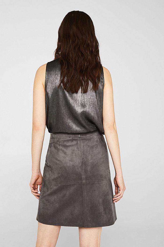 Skirt in faux suede, MEDIUM GREY, detail image number 3