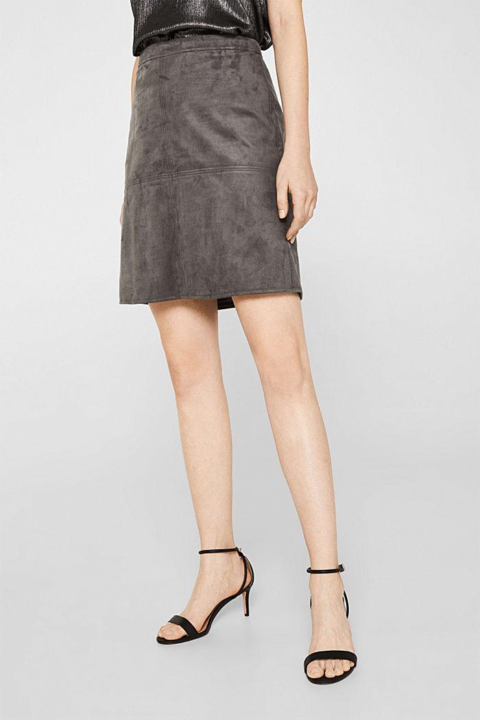 Skirt in faux suede, MEDIUM GREY, detail image number 4