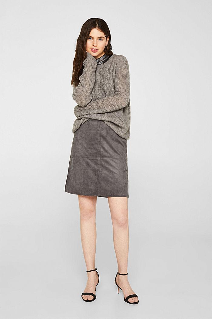 Skirt in faux suede, MEDIUM GREY, detail image number 1