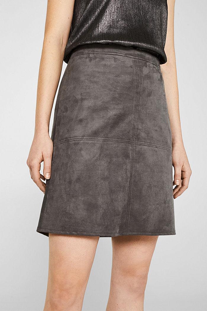 Skirt in faux suede, MEDIUM GREY, detail image number 2