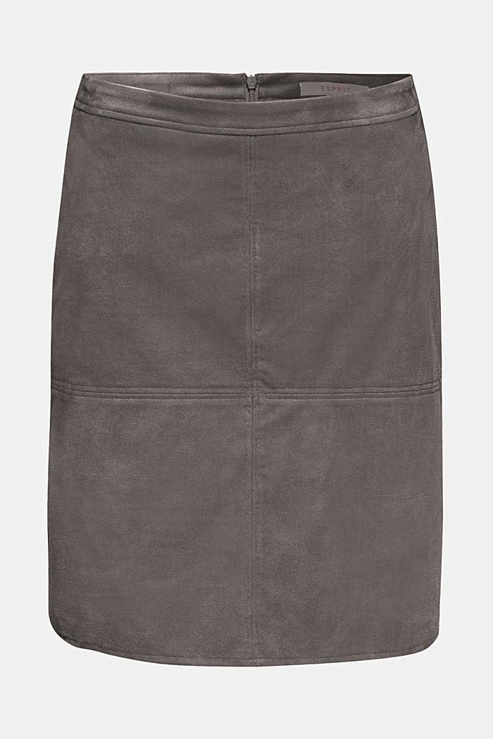 Skirt in faux suede, MEDIUM GREY, detail image number 5