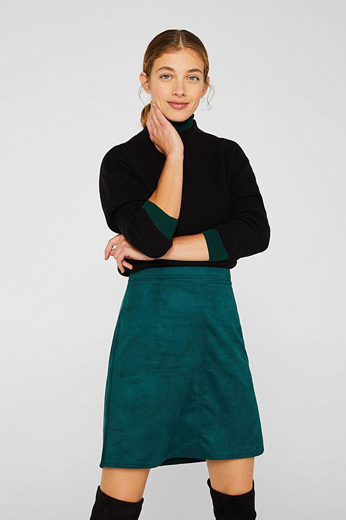 Skirt in faux suede, DARK TEAL GREEN, detail image number 0