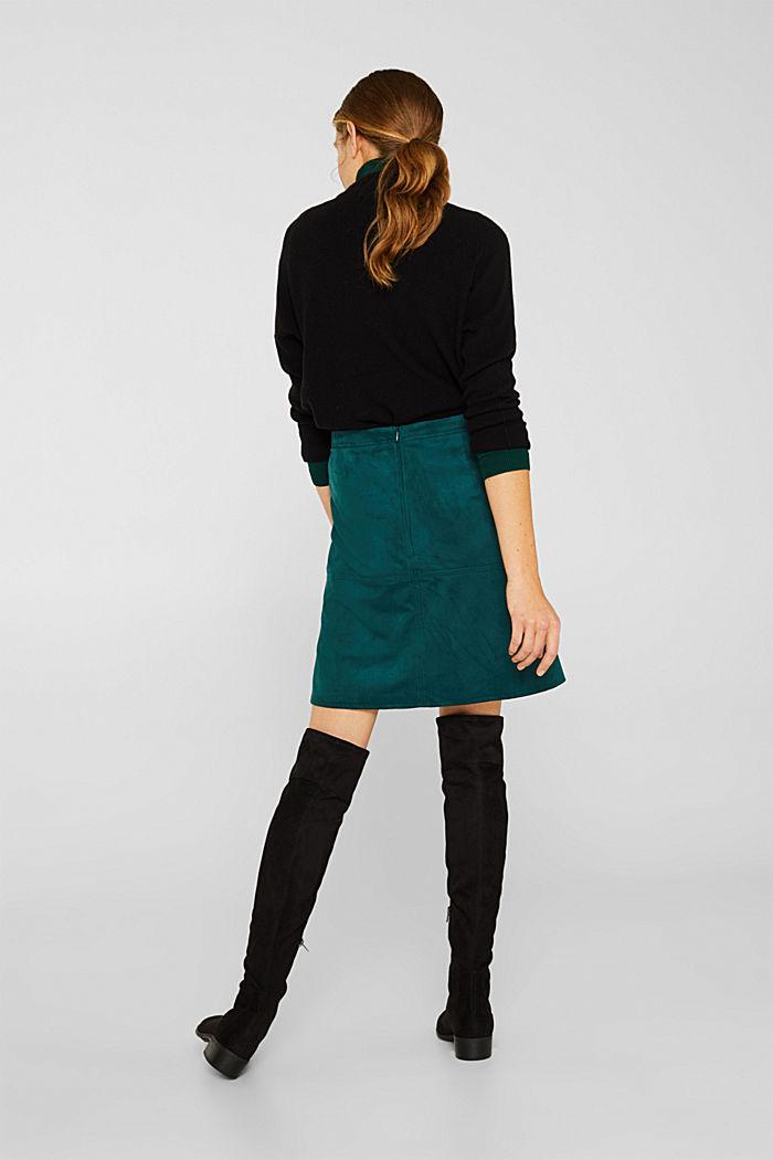 Skirt in faux suede, DARK TEAL GREEN, detail image number 3