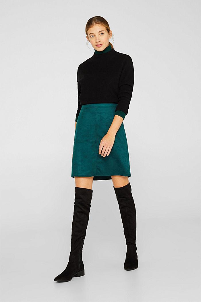 Skirt in faux suede, DARK TEAL GREEN, detail image number 1