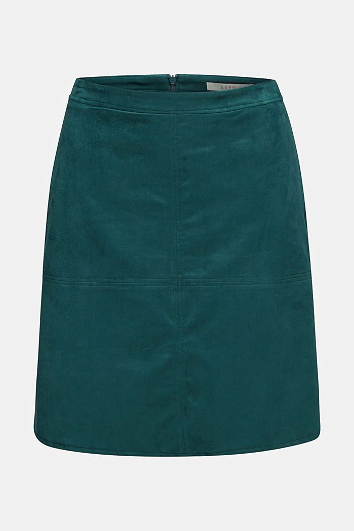 Skirt in faux suede, DARK TEAL GREEN, detail image number 5