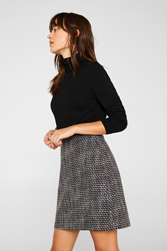 Tweed skirt with a faux leather waistband