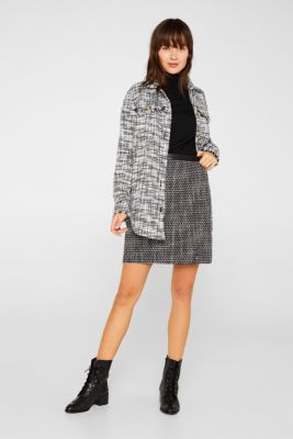 Tweed skirt with a faux leather waistband, BLACK, detail
