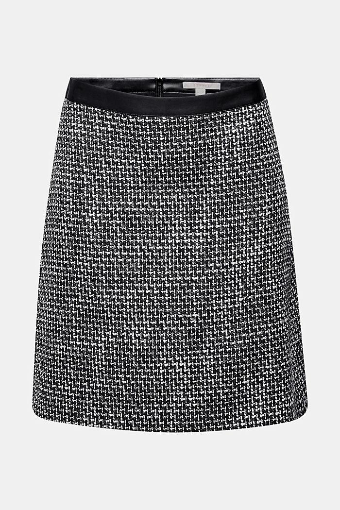 Tweed rok met een band in leerlook, BLACK, detail image number 0
