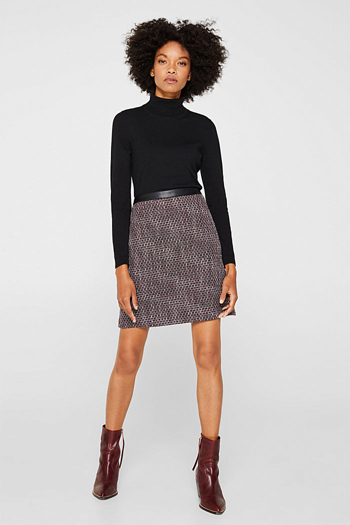 Tweed skirt with a faux leather waistband, GARNET RED, detail image number 0