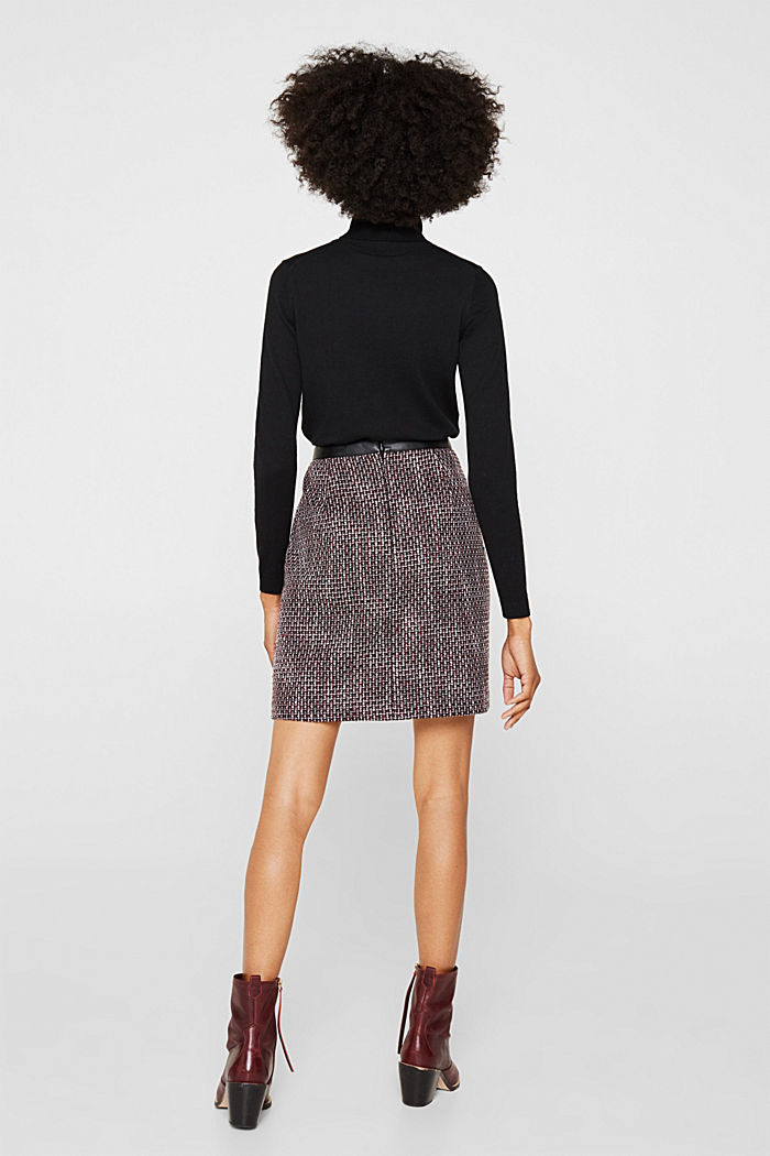 Tweed skirt with a faux leather waistband, GARNET RED, detail image number 2
