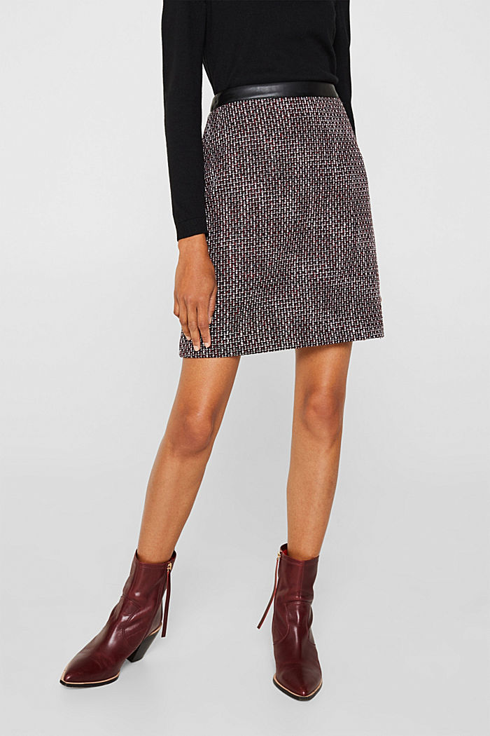 Tweed skirt with a faux leather waistband, GARNET RED, detail image number 4