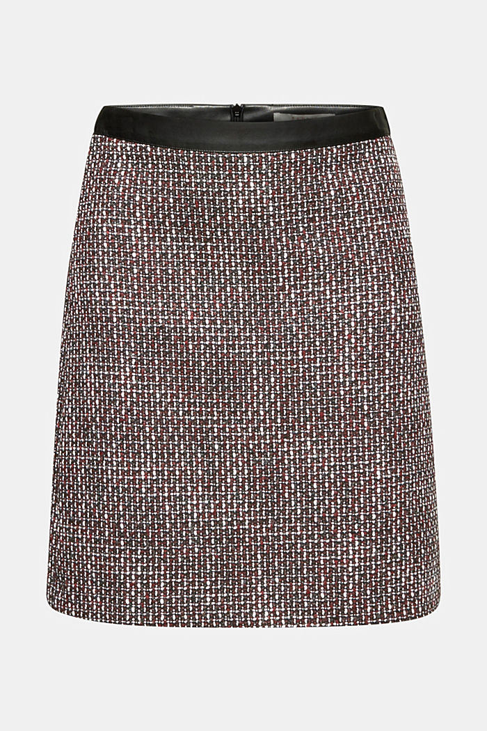 Tweed skirt with a faux leather waistband, GARNET RED, detail image number 5