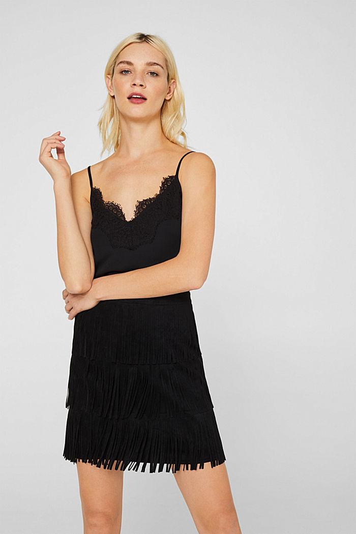 Fringed faux suede skirt, BLACK, detail image number 0