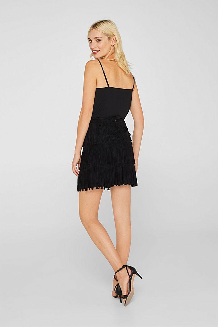 Fringed faux suede skirt, BLACK, detail image number 3