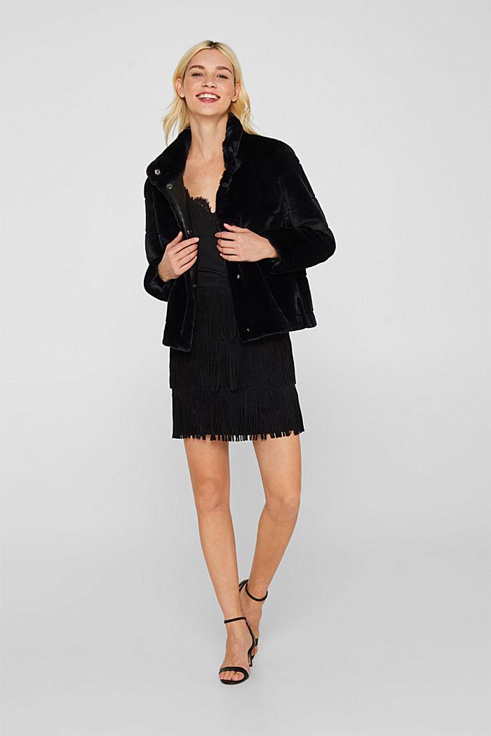 Fringed faux suede skirt, BLACK, detail image number 1