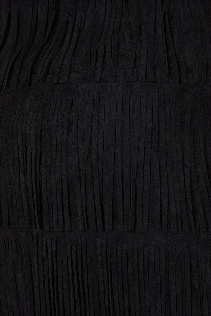 Fringed faux suede skirt, BLACK, detail image number 4