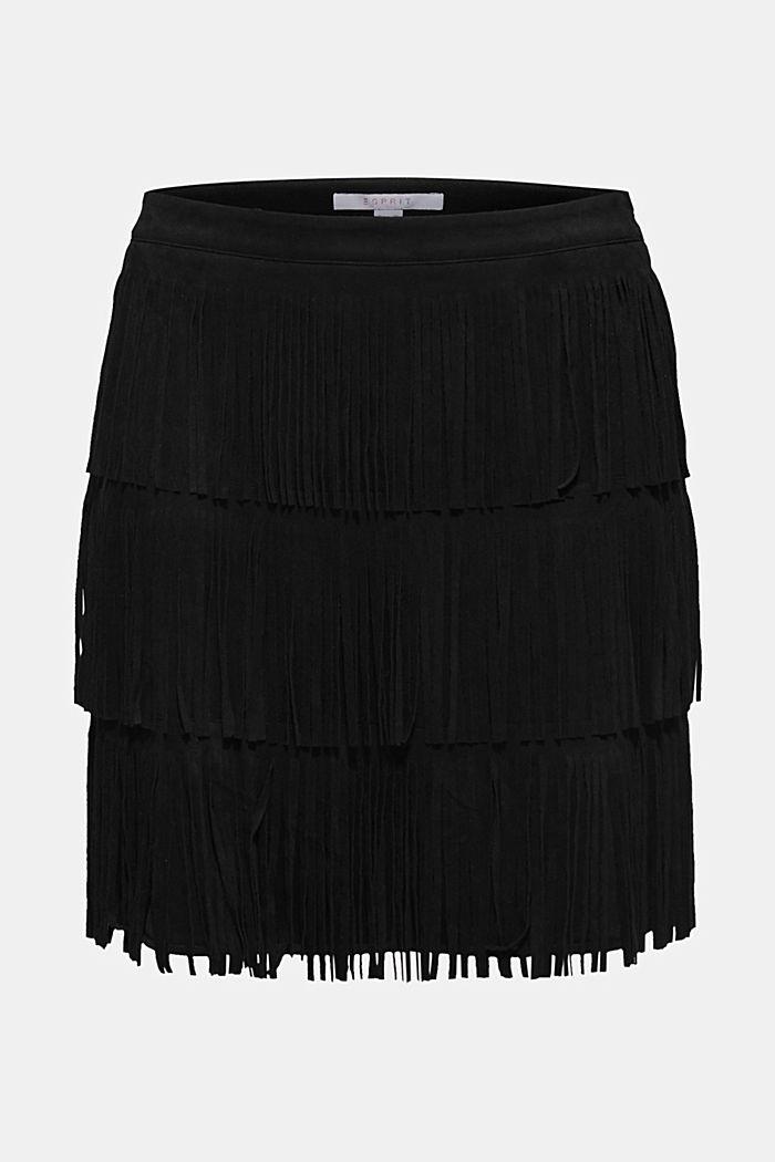 Fringed faux suede skirt, BLACK, detail image number 6