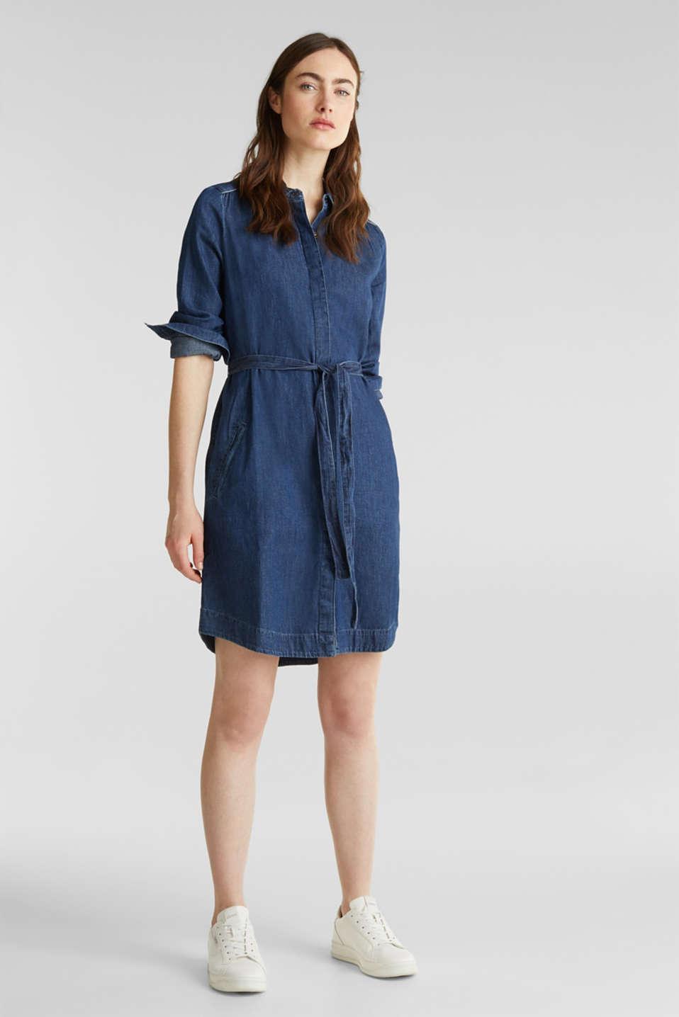 Denim dress with a tie-around belt, 100% cotton, BLUE MEDIUM WASH, detail image number 0