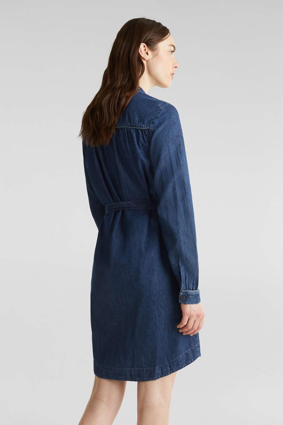 Denim dress with a tie-around belt, 100% cotton, BLUE MEDIUM WASH, detail image number 2