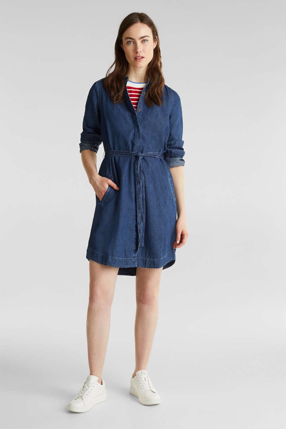 Denim dress with a tie-around belt, 100% cotton, BLUE MEDIUM WASH, detail image number 1