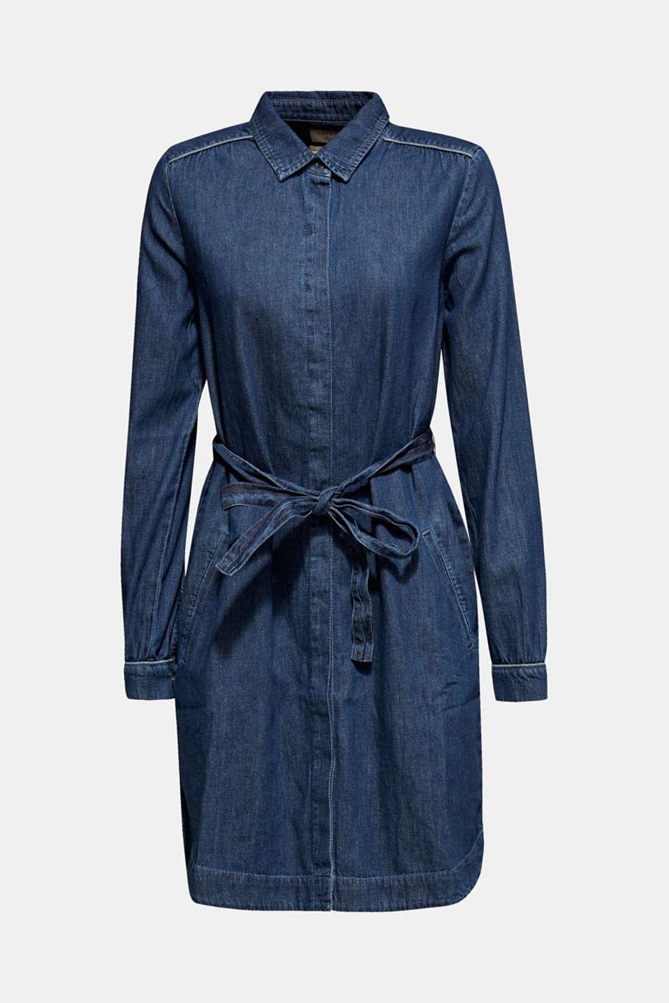 Denim dress with a tie-around belt, 100% cotton, BLUE MEDIUM WASH, detail image number 6