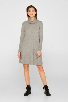With wool: Knit dress with stretch, MEDIUM GREY 5, detail