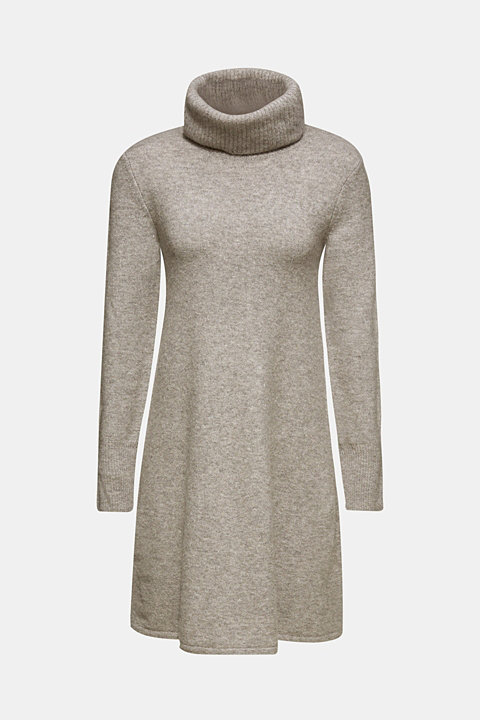 With wool: Knit dress with stretch