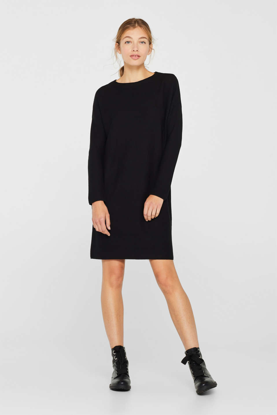 Knit dress with a ribbed texture, BLACK, detail image number 1
