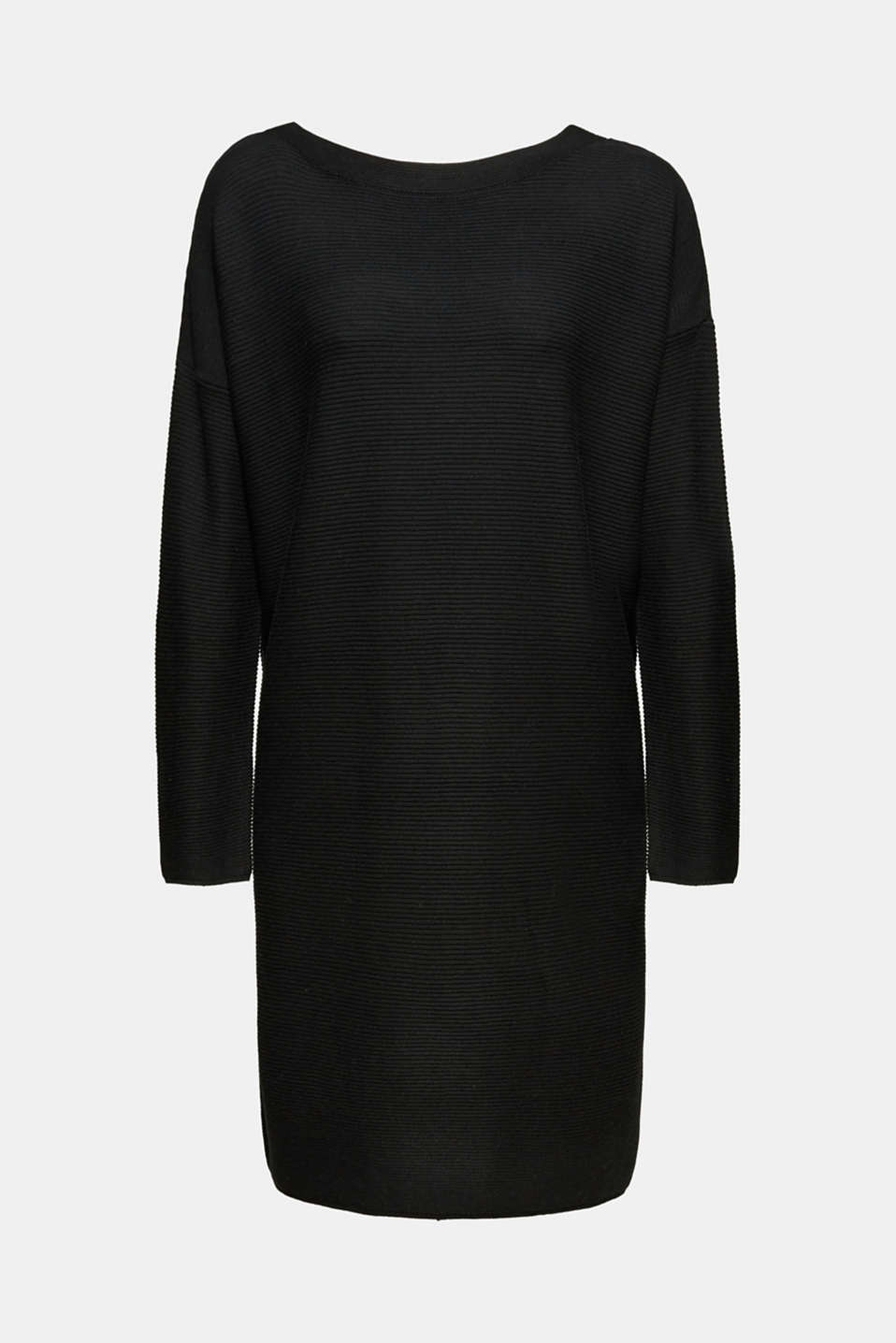 Knit dress with a ribbed texture, BLACK, detail image number 7