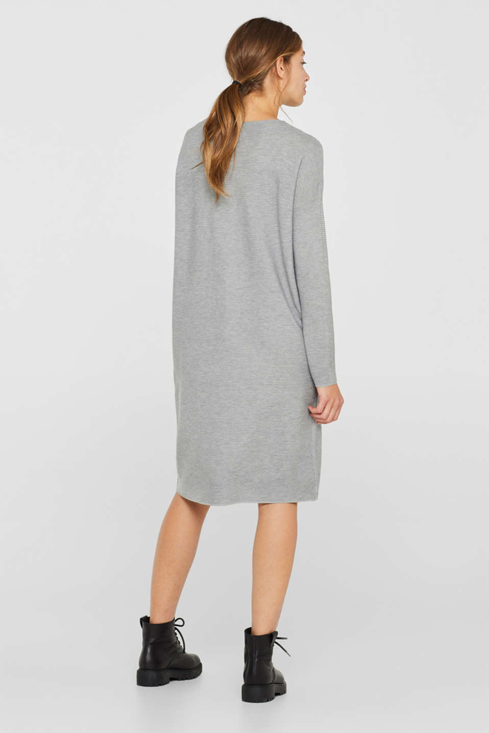 Knit dress with a ribbed texture, MEDIUM GREY 5, detail image number 2