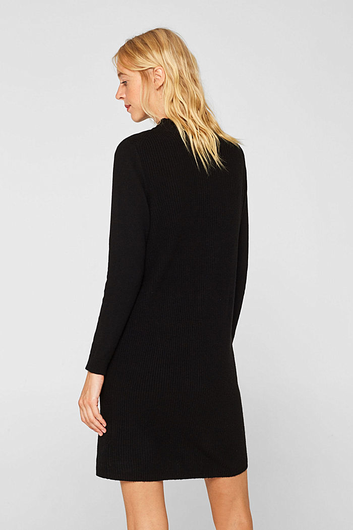 Blended wool: Knitted dress in a basic look, BLACK, detail image number 2