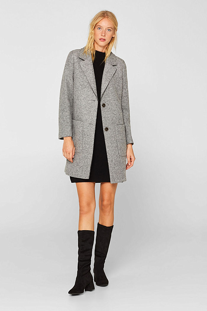 Blended wool: Knitted dress in a basic look, BLACK, detail image number 1