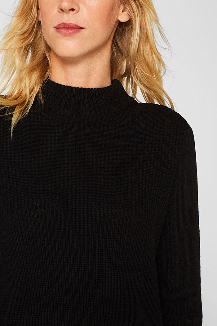 Blended wool: Knitted dress in a basic look, BLACK, detail image number 3