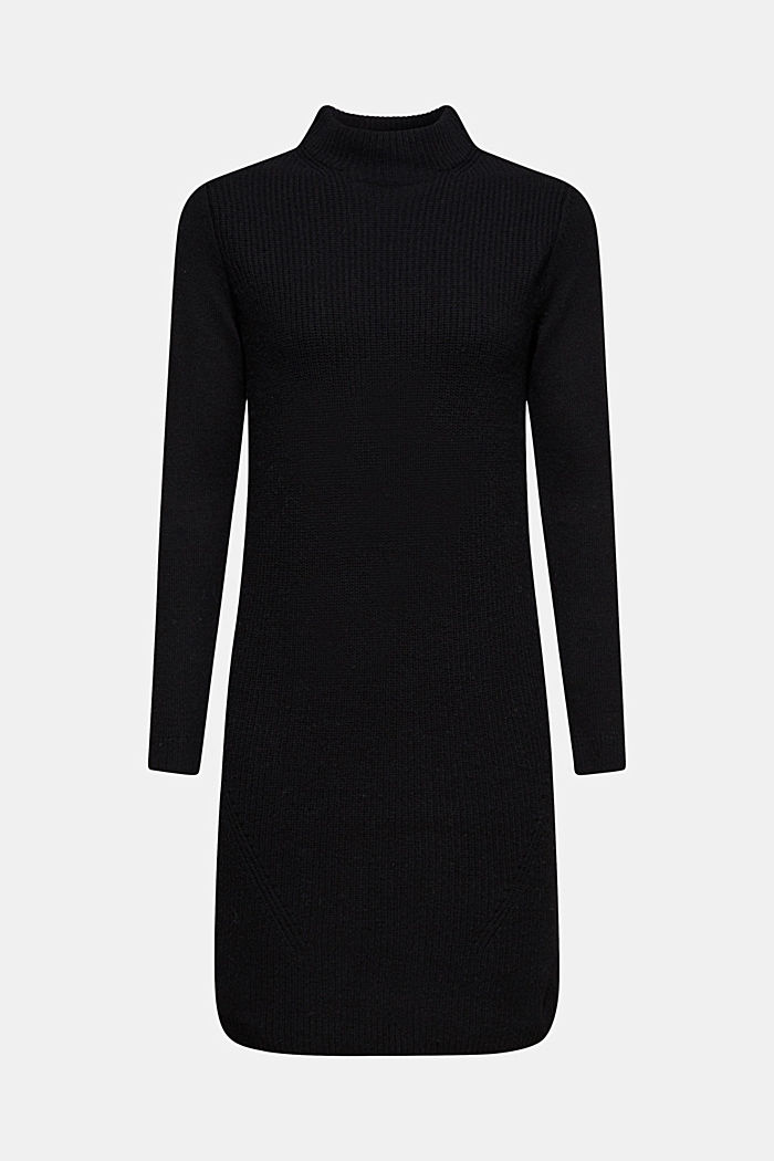 Blended wool: Knitted dress in a basic look