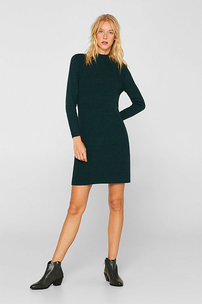 Blended wool: Knitted dress in a basic look, DARK TEAL GREEN, detail image number 0