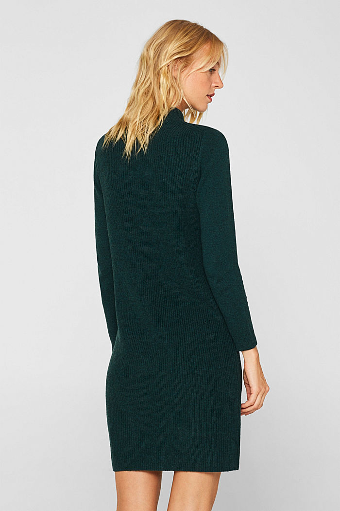 Blended wool: Knitted dress in a basic look, DARK TEAL GREEN, detail image number 2