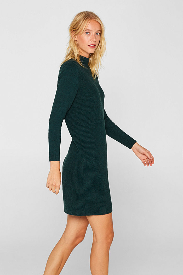 Blended wool: Knitted dress in a basic look, DARK TEAL GREEN, detail image number 4